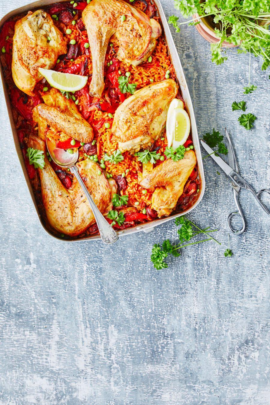 Paella-fad med kylling